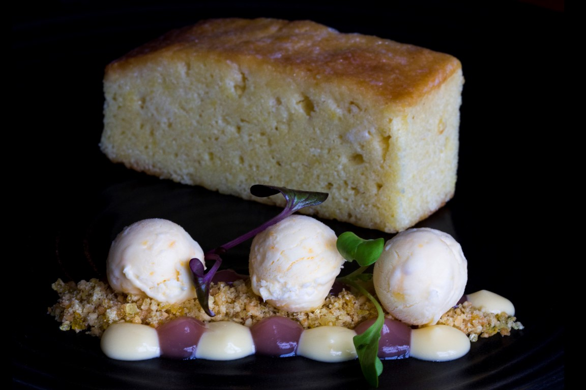 lemon cake, curd and iced lemon parfait
